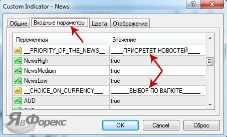 входные параметры news
