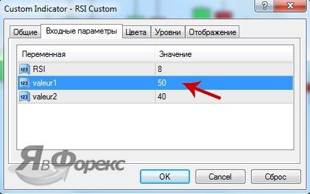 параметры инструмента rsi custom