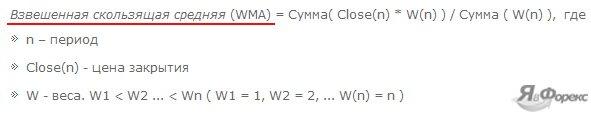 формула взвешенной ma