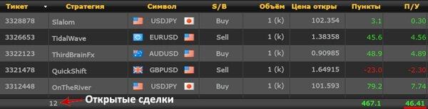 текущие открытые сделки в mirror trader